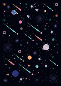 Carly Watts Illustration: Galactic #space #pattern #decorative #galaxy #stars #planets