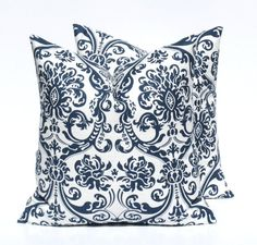 Navy Blue Pillow 16x16 Throw Pillow Cover Damask Floral Blue Pillow Dark Blue Pillow Printed fabric both sides Housewares Home Decor