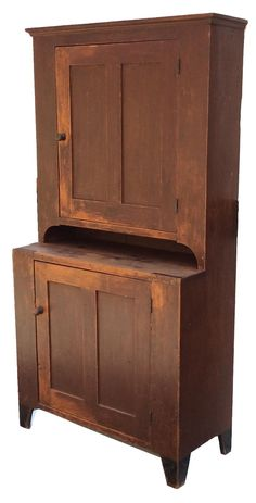 A223 Pennsylvania 19th Century Softwood Single Part Blind Door Step Back Cupboard.