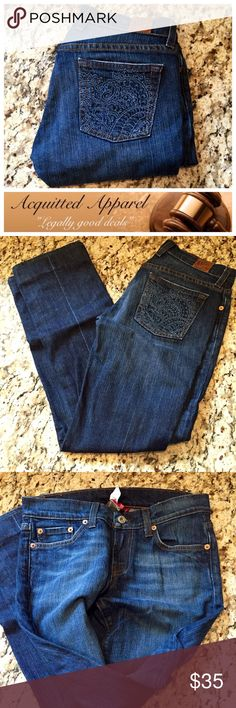 """Lucky Brand Sweet N' Low Straight 29"""" inseam Beautiful embroidered back pockets. Size 0 / 25     29"""" inseam 7"""" rise 96% cotton 4% spandex. Lucky Brand Jeans Straight Leg"""