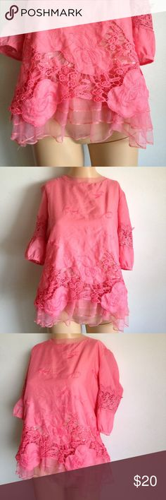 Vintage Embroidery Lace Pink Blouse Top XS Small Features all the best things.. Lace, Embroidery, Crochet.. not to mention it's a bold salmon color!! Fits like an XS! Vintage Tops Blouses