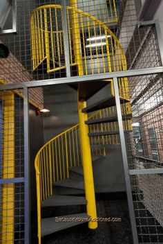 Industrial Spiral Staircase, Industrial Interiors I Donu0027t Care For The  Yellow, But