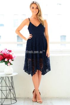 In Your Dreams Lace Dress in Navy | St. Frock