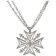 Preowned Julia Post Diamond Silver Maltese Cross Necklace (£2,120) ❤ liked on Polyvore featuring jewelry, necklaces, multiple, silver diamond necklace, maltese cross necklace, silver jewellery, diamond necklace and silver jewelry