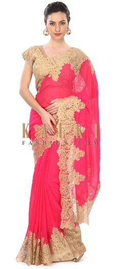 Buy Online from the link below. We ship worldwide (Free Shipping over US$100) Price- $189 Click Anywhere to Tag http://www.kalkifashion.com/pink-saree-enhanced-in-gold-chantilly-lace-only-on-kalki-21725.html
