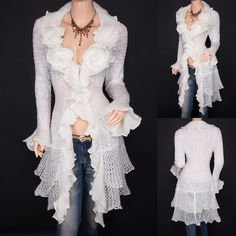 Trendy Ivory Ruffled Floral Applique Tiered Hem Cardigan Long Sweater Jacket 14 in Clothes, Shoes & Accessories, Women's Clothing, Jumpers & Cardigans Cute Fashion, Boho Fashion, Autumn Fashion, Fashion Outfits, Long Cardigan, Sweater Jacket, Lace Jacket, White Cardigan, Long Sweaters
