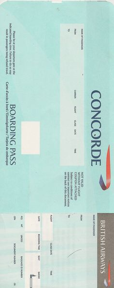 boarding pass for the Concorde, British Airways.