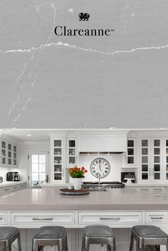 Perfect for a gray kitchen, our Clareanne design from the Marble Collection features a soft gray background with end-to-end linear white veins. Gray countertops in this design provide the elegant look of marble with the high performance of Cambria quartz. #MyCambria