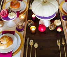 a bright pink, purple, and gold Thanksgiving tablescape