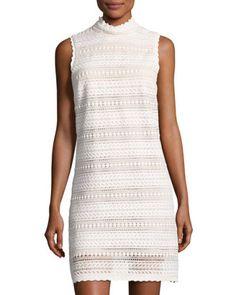 Crochet-Lace Shift Dress, Ivory