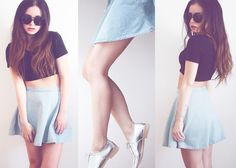 American Apparel Top, Zara Flats, American Apparel Skirt