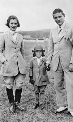Even as a child Jackie showed her knack for fashion, looking adorable in matching riding gear with her parents in the 1930s.  Photo: Getty Images