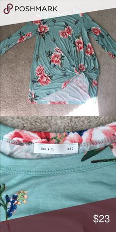 Mint green floral side knot tee Just received in the mail and too small. Never washed. No tags on item. Super soft material. reb & j.  220 Tops