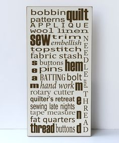 This Cream & Brown 'Sewing Subway' Wall Sign is perfect! #zulilyfinds
