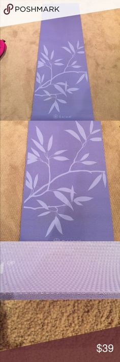 "NWOT GAIAM Yoga mat Lavender colored yoga mat with branch design.  Never used. 1/4"" thick. Perfect for beginners [also have mat bag listed]. Bundle both listings for 15% off gaiam Accessories"