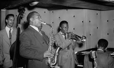 Charlie Parker in 1948 with Miles Davis and Tommy Potter. Photograph William Gottlieb