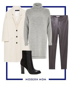 Minimalism is the name of the game these days. Try this effortless look inspired by street style stars that includes the essential over-sized coat, turtleneck knit, leather trousers, and high ankle boots. You might just be mistaken for a fashion blogger.