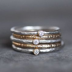 Tiny Diamond Ring Set 18k Gold and Silver Stack by LilianGinebra