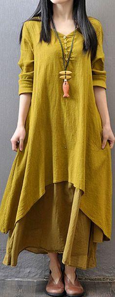 US$ 24.55 Gracila Vintage Women Long Sleeve V Neck Irregular Maxi Dress