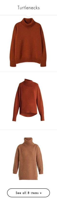 """""""Turtlenecks"""" by drskullz on Polyvore featuring tops, sweaters, shirts, ribbed turtleneck, brown shirts, over sized sweaters, turtle neck sweater, ribbed turtleneck sweaters, brown and asymmetrical tops"""