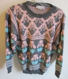 On auction in our eBay store...  Vintage 80's Rose Brand Sweater Fairy Kei Lolita Kawaii Gray Pastel Peach Green #RoseBrand #Fairy #Kei #Kawaii #Lolita #Harajuku #Japan #fashion #retro #vintage #gray #grey #peach #pink #sweater