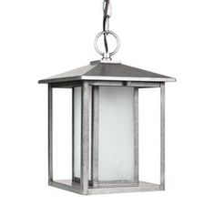 Sea Gull Lighting Hunnington 13.75-in H Weathered Pewter Outdoor Pendant Light ENERGY STAR