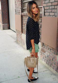 Polka dots + shorts + loafers