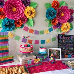 Fiesta Party Decorations - Paper Flowers - First Birthday I just wanted to share a few decor photos from Amerie's First Fiesta. It was sooo much fun (and a tremendous effort) putting this together. Mexican Birthday Parties, Mexican Fiesta Party, Fiesta Theme Party, Birthday Party Themes, Birthday Ideas, Diy Birthday, Mexican Dessert Table, Mexican Menu, Mexican Desserts