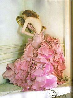 abito, alta moda, karen elson, rosa, tim walker , volume