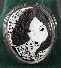 Vintage Enamelled Artist Brooch Featuring a Lady, Monogrammed RRK Antique Brooches, Antique Jewelry, Vintage Costume Jewelry, Vintage Costumes, Vintage Antiques, Rings For Men, Enamel, Monogram, Lady