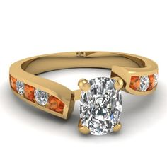 0.80 Ct Cushion Cut Diamond & Orange Sapphire Engagement Ring Channel Set