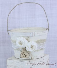 Personalized Rustic Flower Girl Basket Burlap Lace Country Wedding (Item Number 130079)