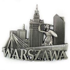 Metal imán Panorama de Varsovia.  Un imán de metal que muestra el panorama de Varsovia sobre el fondo del puente Świętokrzyski.  #varsovia #imán #imándenevera Magnet, Bookends, Language, Cool Gadgets, Bridges, Crates, Warsaw, Magnets, Language Arts