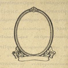Printable Image Elegant Oval Frame and Scroll Banner Digital Blank Ornate Design Graphic Download Antique Clip Art. High resolution printable image clip art for transfers, printing, tote bags, pillows, t-shirts, tea towels, and more great uses. This graphic is high quality, large at 8½ x 11 inches. Transparent background version included with every graphic.