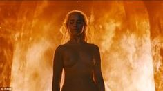 Sizzling scene: Emilia Clarke stripped off for the fiery end sequence on Sunday's night's Game Of Thrones, saying, 'This is all me, all proud, all strong. That ain't no body double'