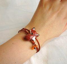 Fox Bracelet Wrap Bracelet by FlowerLandShop on Etsy, $33.00
