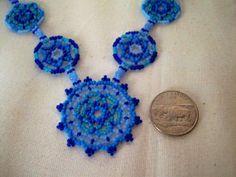 Indigo Blue Beadwork Necklace Shades of by GlowingHeartStudios