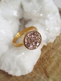 Rose Gold Druzy Ring Titanium Drusy Quartz Gold by julianneblumlo, $60.00