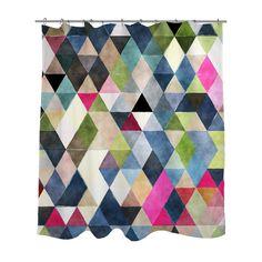 Multicolored Geometric Triangles Shower Curtain