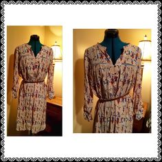 """Anthropologie Dolan Left Coast Printed Shirt Dress Beautiful light pink dress with pretty printed designs all over.  Bust: 44"""" Length 40"""" made of viscose (dry clean only). Please note, attached belt is not the one that originally came with this dress, hence the deep discount.  Otherwise, excellent preloved condition. Anthropologie Dresses Midi"""