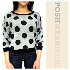 "Gray & Black Polkadot Shirt w/ Sheer Lace Back Pullover application • Crop fit • Length 21.5"" • Bust 38""-44"" • Waist 32"" • Polyester & Spandex • Sized Large, but, fits like a 10/12.   Like what you see? Follow me!  On PM @PoshWearHouse  On IG www.instagram.com/PoshWearHouse  On FB www.facebook.com/PoshWearhouse Almost Famous Tops Crop Tops"