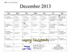 December Pool calendar 2013