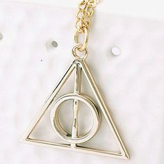 OnairMall Harry Potter Necklace Pendant Triangle Vintage Sweater Necklace The Deathly Hallows * Read more at the image link. (This is an affiliate link)
