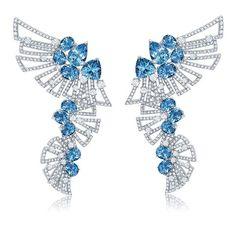 Graziela Gems. Midnight Aquamarine Earrings.