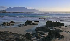 Sip Champagne on Blouberg Beach at sunset with a perfect view of Table Mountain. Table Mountain, Ocean Sunset, South Africa, Surfing, Mountains, Beach, Places, Water, Champagne