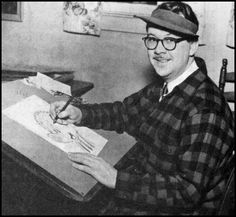 Walter Crawford Kelly, Jr. or Walt Kelly, was an American animator and cartoonist, best known for the comic strip Pogo. He began his animation career in 1936 at Walt Disney Studios, contributing to Pinocchio and Fantasia. Kelly resigned in 1941 at the age of 28 to work at Dell Comics, where he created Pogo, which eventually became his platform for political and philosophical commentary.