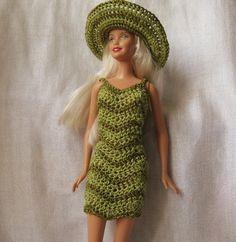 Barbie Doll crochet pattern Chevron dress and by honeybeejewelry