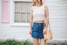Summer Uniform | Outfit Inspiration | Crop Top | Button Front Skirt | Bucket Bag | Gladiator Sandals | Miami Fashion Blogger http://sidesmilestyle.com/crop-top-button-front-denim-skirt/?utm_campaign=coschedule&utm_source=pinterest&utm_medium=SideSmile%20Style&utm_content=Summer%20Uniform