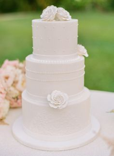 All White Wedding Cake with Intricate Detailing {Coordinated by Moana Events}