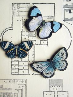 Wood Butterfly Brooch    Flying in for the holidays are these beautiful butterflies. Brooch is made by applying vintage paper illustrations to wood and